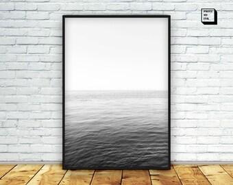 ocean photography, black and white ocean print, ocean horizon print, printable, grey ocean art, ocean wall art, printable, sea download