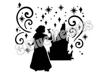 Snow White Castle Silhouette svg studio dxf pdf jpg