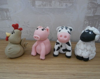 Edible 4 X Farm animals, cow,pig,sheep,chicken,cake topper,hen,cake decoration,birthday,retirement,boy,girl