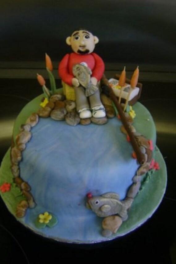 Fishing Cake Decorations Uk : Edible sugar paste fisherman cake topperdecorationmanwomen