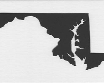 Pack of 3 Square Maryland State Stencils Made From 4 Ply Mat Board 12x12, 8x8 and 6x6