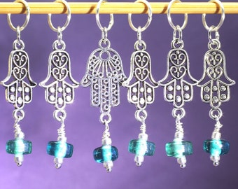 Hamsa Hand and Blue-Green Bead Knitting Stitch Marker Set of Six, One of a Kind Marker set, Gift for Knitters, Knitting Tools, Buddhist
