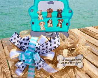 Dog door hanger, Dog wreath, Puppy wreath, Puppy door hanger, Dog decor, Puppy decor, Dog decorations, Puppy decorations, Dog lover gift