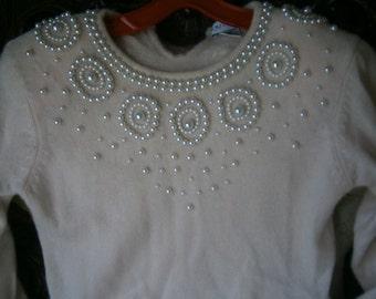 Vintage Lambswool/Angora Pearl Embellished Pink Sweater Dress