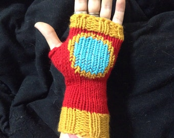 Iron Man Gauntlet Fingerless Gloves - Hand-knit Arm Warmers