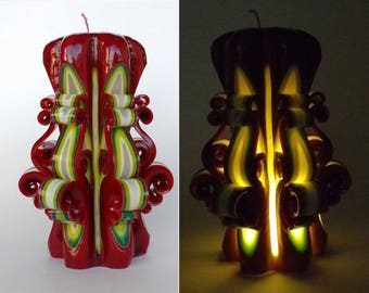 Carved candle with led Christmas Gift Decorative candle Candles Unique candle Artistic candle Red candle Gift idea Home decor