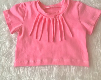 Baby crop top, girls crop top, fringe crop top, belly shirt, pink crop top, fringe shirt