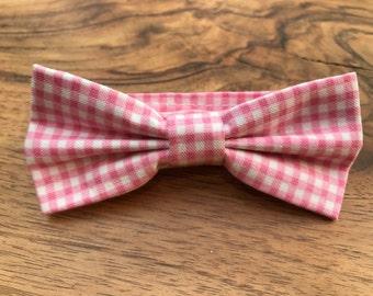 Boys Bow tie - Pink Gingham - Bow tie for boys - baby bow tie - Wedding bowtie - Boys 1st Birthday bow tie - Kids Bow Ties