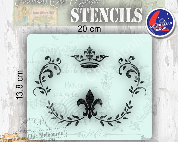 Mylar Furniture Stencil, French Vintage Stencil, Artist Stencil, Cake Stencil Furniture or Wall Stencil Flourishes, Crown & Fleur De Lys
