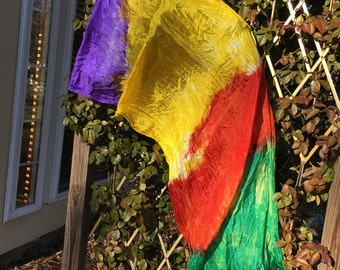 Four Color Hand Dyed Silk Scarf, Belly Dance Veil