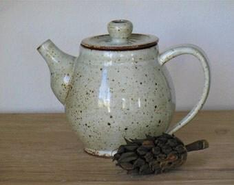 White Speckled Teapot, Handmade Ceramic Teapot, Pottery Teapot