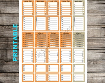 PRINTABLE Fall Halloween Stacking Side Boxes for Erin Condren Vertical Planner Orange Functional Full Box Half Box Checklist October