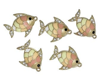 Set of 5 - Enameled Gold Plate Fish Charms   (1749)