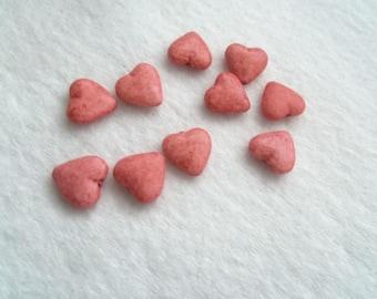 15 mm x 14 mm Acrylic Puffed Heart Beads - Light Red (1339E)