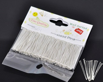 300 Silver Plated Well Sorted Headpins 30 x .07mm (B140f)