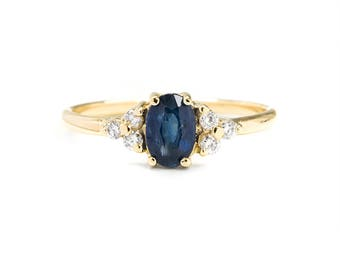 Oval Cut Blue Sapphire Diamond Ring, 14k Solid Gold Ring, September Birthstone Ring, Sapphire Diamond Engagement Ring, Anniversary Ring