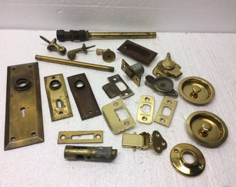 Vintage Brass Architectural Salvage Hardware Escutcheon Metal Door Plate Stopper Window Lock Mixed Media Art Assemblage Lot