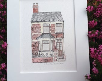 Commission an original house portrait. Celebrate a special place. House warming, wedding present, birthday present. Anniversary present.