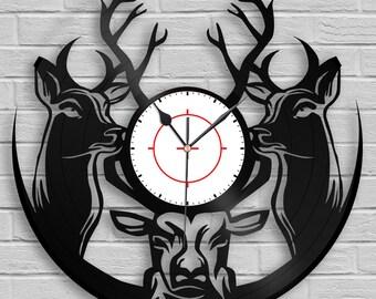 Woodland Deer Hunter Clock, Hunting Gift, Deer Head, Deer Antlers, Wall Art, Animals Decor, Vinyl Record Art, Home Decoration, Gift for Him