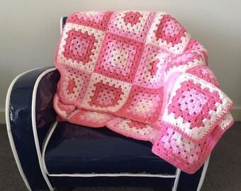 Handmade Crochet Baby Blanket / Granny Square / Pink Tones / Baby Present / Girls