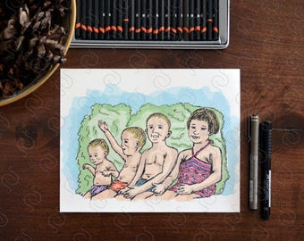 Custom Family Portrait - Family Illustration-Personalized Family Portrait - Mothers Day Gift - Family Print - Custom Portrait - Portrait