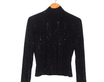 St. John Couture Black & Rhinestone High Neck/Turtleneck Long Sleeve Top