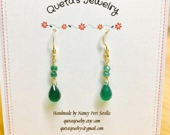 Green Onyx Briollette Earrings
