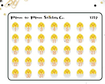 1359~~Easter Chick Date Covers Planner Stickers.