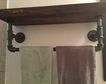 Industrial reclaimed wood shelf