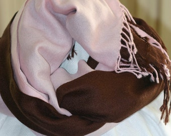 Ladies shawls, Pashmina silk pecan brown, Frangi Tie Rack baby pink pure wool, classic- 2 available