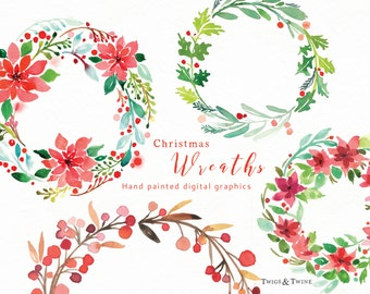 Christmas Wreaths Clipart Set. Holiday clipart. Hand Painted watercolours made into digital graphics.