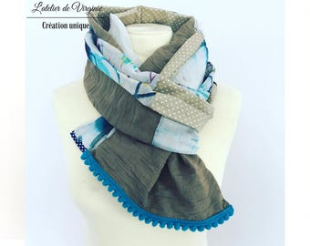 Scarf, scarf, cheche, cotton, multicolored, lace. Bohemian chic fashion accessory / new collection spring summer 2017. Mother's day.