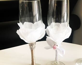 Prosecco flute pair for brides and grooms