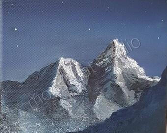 Night Sky Mountains in Oil - 5x5 Print