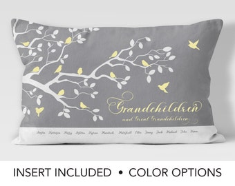 Grandmother Pillow Gift - Personalized Family Tree Pillow - grandma gift - great grandmother - great grandma - grandchildren - cushion