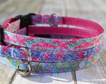 Nautical Cat Collar - Designer Inspired Cat Collars - XS Dog Collars - Floral Cat Collar - XS Dog Harness - Star Fish Cat Collar