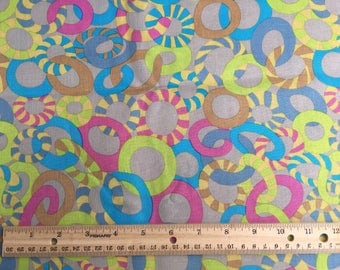 "bright circles on gray fabric, By the Half Yard, 44"" wide, 100% cotton, quilting cotton"