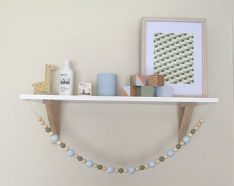 Wooden bead garland - pale blue and sage green - forrest green - wooden nursery decor