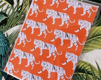 Orange Tiger print Note/Greetings Card/Invitation