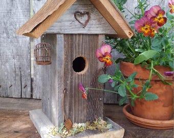 Decorative Rustic Birdhouse,  Rustic Metal Birdhouse, Country Wedding Gift, Birthday Gift, Whimsical Birdhouse, Housewarming Garden Gift