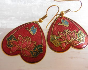 Vintage Red Cloisonne Upside Down Heart Drop Earrings - Butterflies, Flowers