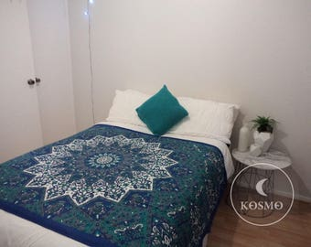 Blue bohemian mandala tapestry