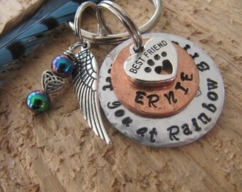 pet memorial key chain//Meet you at the Rainbow Bridge//dog memorial//cat memorial key chain//Rainbow Bridge//pet key chain//I will meet you
