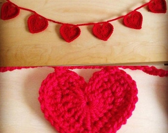 Crochet Heart garland. Ready to ship