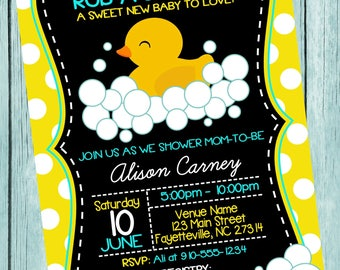 Duck Rubber Ducky Baby Shower Printable Invitation
