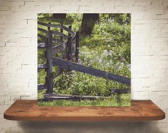Country Wood Fence Photograph - Fine Art Print - Home Wall Decor - Flower Pictures - Country Rustic Decor - Farm House - House Warming Gifts