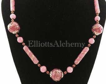 Vintage venetian wedding cake pink bead necklace
