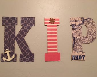 Nautical/Seaside Personalized Wooden Letters/Numbers