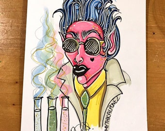 Mad Scientist A5 original painting fantasy art pop art illustration watercolour painting ink surreal bizarre quirky cool