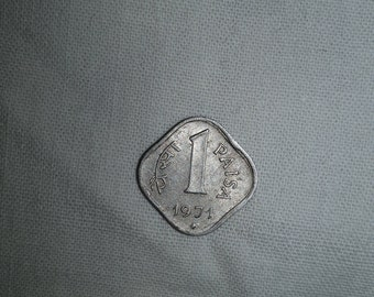 Indian Vintage Currency Old 1971 One Pesa Metal Square Coin Light weighted Rare Indian Currency Collectible